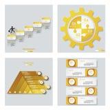 Sammlung von 4 gelbem Farbschablonen-/-graphik- oder -websiteplan Es kann für Leistung der Planungsarbeit notwendig sein Lizenzfreie Stockbilder