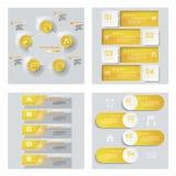 Sammlung von 4 gelbem Farbschablonen-/-graphik- oder -websiteplan Es kann für Leistung der Planungsarbeit notwendig sein Stockbilder