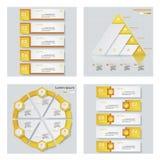 Sammlung von 4 gelbem Farbschablonen-/-graphik- oder -websiteplan Es kann für Leistung der Planungsarbeit notwendig sein Stockfotos