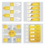 Sammlung von 4 gelbem Farbschablonen-/-graphik- oder -websiteplan Es kann für Leistung der Planungsarbeit notwendig sein Stockfoto