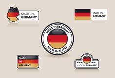Sammlung von gemacht in Deutschlandkennsätzen, -abzeichen und -aufklebern Lizenzfreie Stockfotografie
