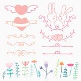 Sammlung von Hand gezeichnetem reizendem für die Heirat Gekritzel-Vektor-Illustration umfassen Herz, Blume und Kaninchen Lizenzfreies Stockbild