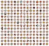 Sammlung von 225 kritzelte Ikonen für jede Gelegenheit Stockfotografie
