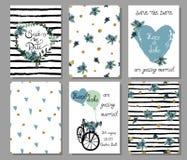 Sammlung von 6 nette Hand gezeichneten Kartenschablonen Sparen Sie das Datum, b Stockbilder