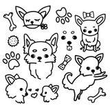 Sammlung von netten Chihuahua mit Zusätzen, Gekritzelillustration in der einfachen Art auf weißem Hintergrund Satz der Karikatur lizenzfreie abbildung