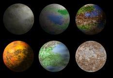 Sammlung von sechs Fantasieausländerplaneten Stockbilder