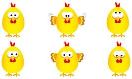 Sammlung von sechs lustigen gelben Ostern-Hühnern mit einigen Ausdrücken, Vektorillustration vektor abbildung