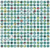 Sammlung von 225 Sommer und Feiertag kritzelte Ikonen Stockfotografie