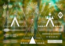 Sammlung von Stammes- stilisiertem des amerikanischen Ureinwohners Lizenzfreies Stockfoto