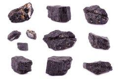 Sammlung von Steinmineraltourmaline Stockfoto