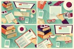 Sammlung von vier flachen Planungsarbeitschreibtischen, Briefpapier Lizenzfreies Stockfoto