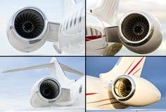 Sammlung von vier Strahltriebwerken auf Luxusprivatjetflugzeugen lizenzfreies stockbild