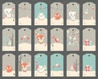 Sammlung von 18 Weihnachten und Neujahrsgeschenk etikettiert mit Füchsen Lizenzfreie Stockfotos
