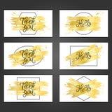 Sammlung von 6 Weinlesekartenschablonen mit goldenen Pinselstrichen Stockfoto