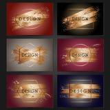 Sammlung von 6 Weinlesekartenschablonen mit kupfernen Pinselstrichen Lizenzfreies Stockfoto