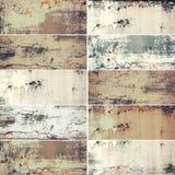 Sammlung von zehn schmalen Bildern mit rostiger alter Beschaffenheit des Weinleseschmutzes Metall, abstrakter Hintergrund stockfotografie