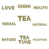 Sammlung Wörter buchstabierte heraus in den Kräutern und in den Teeblättern Stockbild
