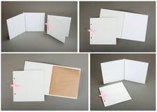 Sammlung weiße Karten über grauem Hintergrund Stockfotos