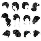 Sammlung weibliche Frisuren kurz, langes und mittleres Haar Frisuren sind modern stilvoll, sch?n und F?r Brunettes lizenzfreie abbildung