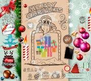 Sammlung Weihnachtselemente kritzelt mit verschiedenen Arten lizenzfreie abbildung