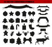 Sammlung Weihnachtssymbole Lizenzfreies Stockfoto