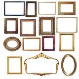 Sammlung Weinlese hölzern und goldene leere Rahmen an lokalisiert Stockfotografie