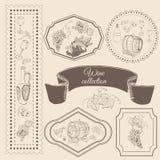 Sammlung Weinproduktelemente im Rahmen Handgezogene Skizzengegenstände in vitage Art vektor abbildung