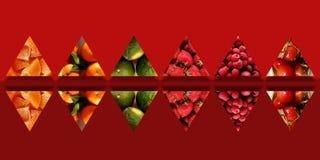 Sammlung widergespiegelte Dreiecke voll von fruchtigen Beschaffenheiten Stockfoto