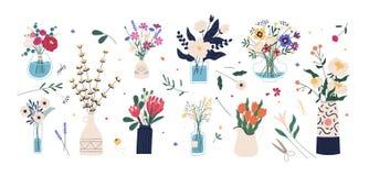 Sammlung wilden und des Gartens blühende Blumen in den Vasen und in Flaschen lokalisiert auf weißem Hintergrund Bündel Blumensträ vektor abbildung