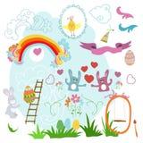 Sammlung Zeichnungen Ostern auf einem weißen Hintergrund Stockfotos