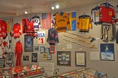 Sammlungen im Lake Placid-olympischen Museum, USA Stockfotografie