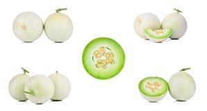 Sammlungs-Blatthonig-Melone auf weißem Hintergrund Lizenzfreies Stockbild