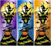 Sammlungs-glückliche Halloween-Vertikalen-Fahnen Lizenzfreie Stockbilder