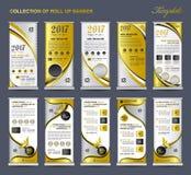 Sammlungs-Gold rollen oben Fahnen-Designstandschablone, Flieger lizenzfreie abbildung