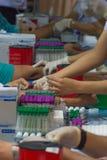 Sammlungsblut im Labor für Überprüfung eine Gesundheit Lizenzfreie Stockfotos