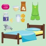 Sammlungshaar-Ikonenmond der Schlafikonenvektorillustration entspannen sich gesetzter Schlafenszeitnachtschlafenszeitelemente Lizenzfreie Stockfotografie