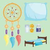 Sammlungshaar-Ikonenmond der Schlafikonenvektorillustration entspannen sich gesetzter Schlafenszeitnachtschlafenszeitelemente Lizenzfreies Stockfoto