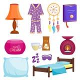 Sammlungshaar-Ikonenmond der Schlafikonenvektorillustration entspannen sich gesetzter Schlafenszeitnachtschlafenszeitelemente Lizenzfreie Stockbilder
