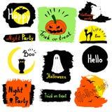 Sammlungshalloween-Fahnen Schönes Halloween eingesetzt Karikaturfeiertagselemente in den hellen Farben Stockfotografie