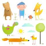Sammlungskarikaturtiere und -kind für Kinder lizenzfreie abbildung
