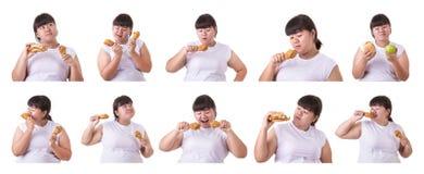 Sammlungsporträt der fetten asiatischen Frau lokalisiert auf Weiß Lebensmittel a stockfotos