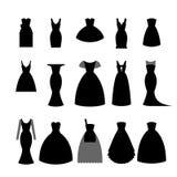 Sammlungsschattenbilder des Schwarzen kleidet auf weißer Hintergrundvorrat-Vektorillustration an Elegantes kurzes und langes Klei Lizenzfreies Stockfoto