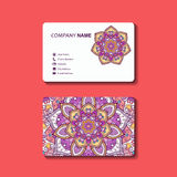 Sammlungsvisitenkarte oder -einladung verzierten Mandala Lizenzfreie Stockfotos