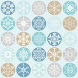 Sammlungsweihnachtsschneeflocken stock abbildung