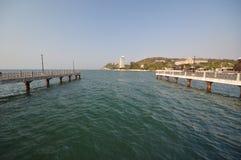 Sammuk mountain bangsaen. Waterfront pavillian at Laemthaen Bangsaen Chonburi stock photo