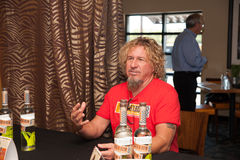 Sammy's Gives Back. ROSEVILLE, CA - September 5: Sammy Hagar at a press conference at Sammy's Rockin' Island Bar and Grill in Roseville, California on September Royalty Free Stock Photography