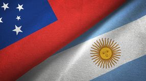 Samoa and Argentina two flags textile cloth, fabric texture. Samoa and Argentina flags together textile cloth, fabric texture vector illustration