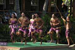 Samoa Dancers. Dance performance at the Polynesian Culture Center in Oahu Royalty Free Stock Photos