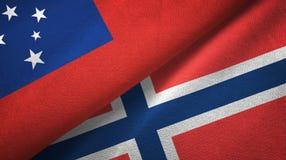 Samoa en Noorwegen twee vlaggen textieldoek, stoffentextuur stock illustratie