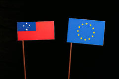 Samoa flag with European Union EU flag  on black Royalty Free Stock Photo